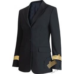 Veste femme Bleu Marine galonnée esprit tailleur, 3 boutons, bas rond, galons de manche