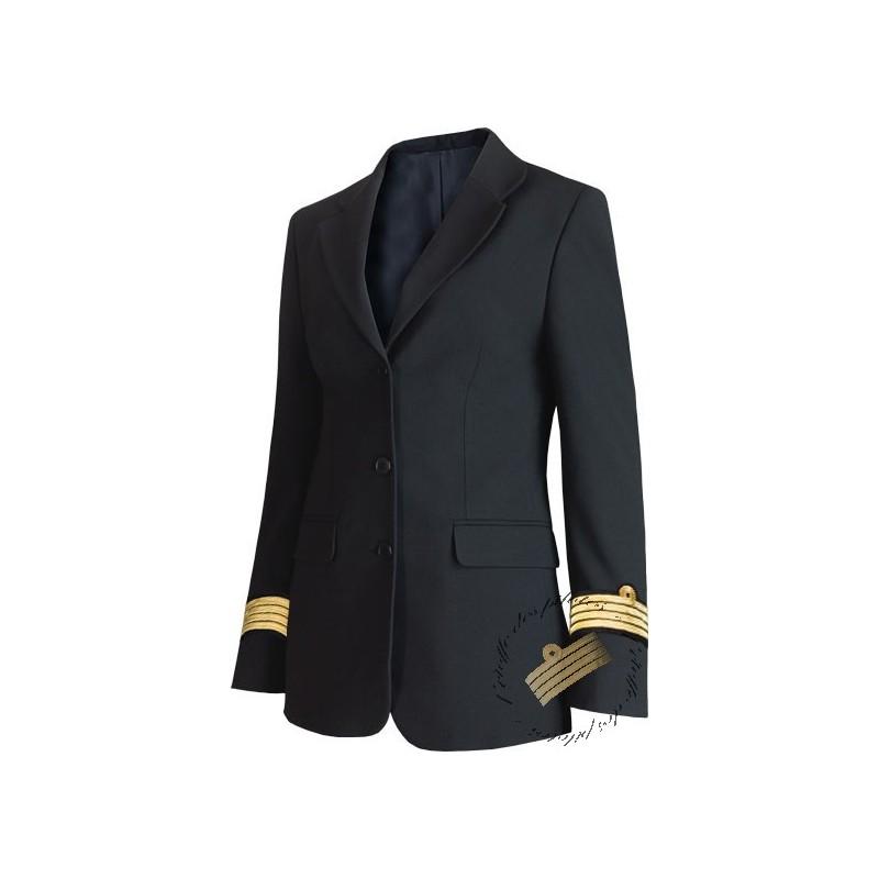 veste femme bleu marine galonn e esprit tailleur. Black Bedroom Furniture Sets. Home Design Ideas