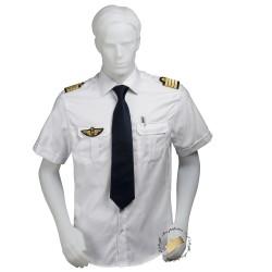 Chemise pilote blanche tissu motif chevrons manches courtes, cintrée, avec épaulettes et poche stylo, coton