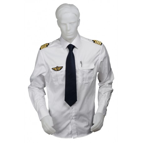 Chemise pilote blanche opaque manches longues, cintrée, avec épaulettes et poche stylo