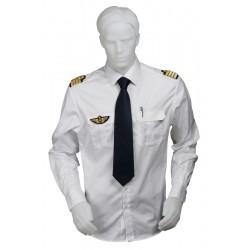 Chemise pilote blanche tissu motif chevrons manches longues, cintrée, avec épaulettes et poche stylo, coton