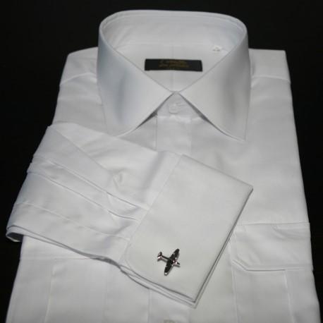 Chemise pilote blanche manches longues, boutonnière de manchettes pour boutons, cintrée, avec épaulettes et poche stylo, coton