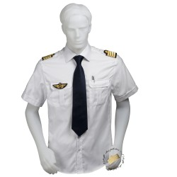 Chemise pilote COUPE DROITE blanche opaque manches courtes, avec épaulettes et poche stylo, coton