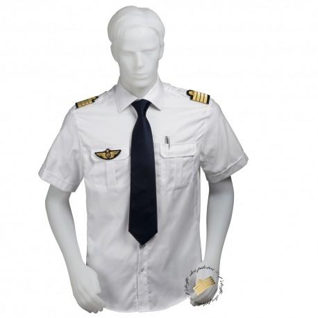 Chemise pilote blanche tissu motif chevrons, manches courtes, coupe droite, avec épaulettes et poche stylo, coton
