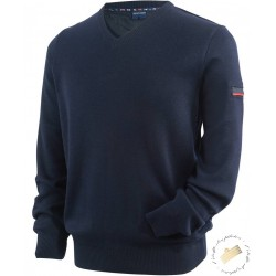Pull aviateur col V pure laine Capitaine - Exclusivité St James