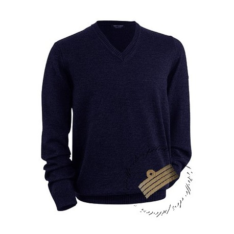 Pull aviateur col V pure laine GALAXY II - Exclusivité St James