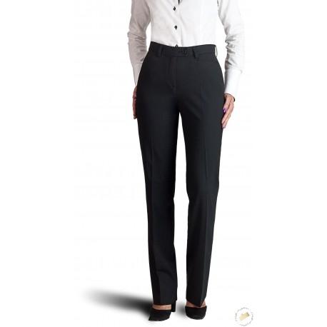 Pantalon femme sans pli, poches cavalières - Bleu marine.
