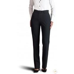 Pantalon femme sans pli, poches cavalières - Noir.