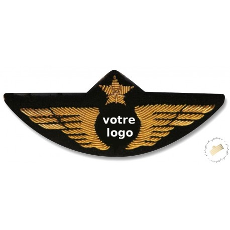 Insigne de poitrine aile avion Or Personnalisée - Pour pilotes et copilotes, personnels navigants