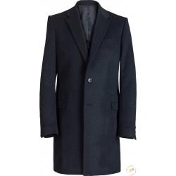 Manteau noir, coupe droite, pure laine