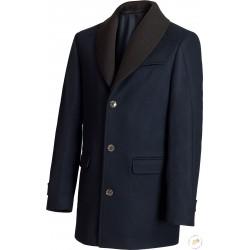 Manteau bleu marine, coupe droite, col châle en maille amovible