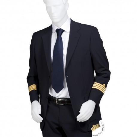 Uniforme Noir, veste droite galonnée + pantalon coupe droite