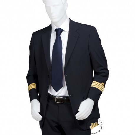 Veste d'uniforme gris anthracite, coupe droite, galonnée