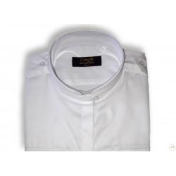 Chemise pilote femme blanche manches courtes, cintrée, avec épaulettes et poche stylo, coton, col mao - tunisien