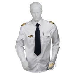Chemise pilote COUPE DROITE blanche opaque manches longues, avec épaulettes et poche stylo, coton